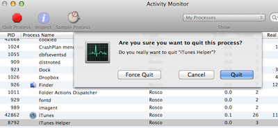 Activity Monitor Xcode iTunes Helper Error