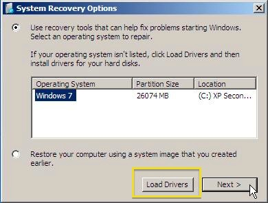 Windows 7 System Recovery Options Screen Load Drivers