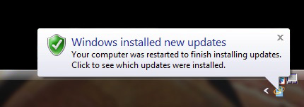 Windows Installed New Updates Baloon